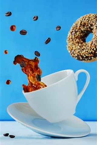 iPhone Wallpaper Coffee and donut fly, cup, moment