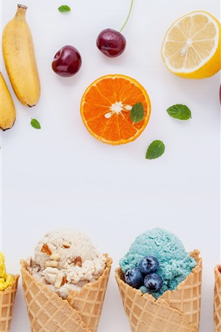 iPhone Wallpaper Colorful ice cream, fruit, white background