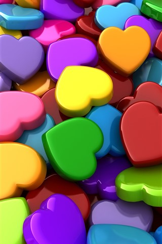 iPhone Wallpaper Colorful love hearts, 3D picture