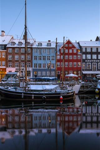 iPhone Wallpaper Copenhagen, Denmark, New Harbor, boats, houses, colors, snow, winter