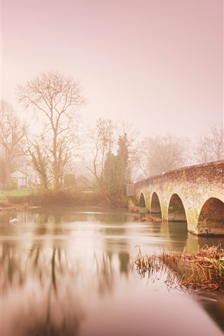 iPhone Wallpaper Countryside, river, bridge, trees, dawn, fog