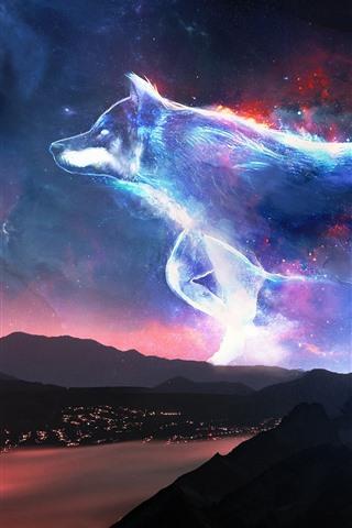 iPhone Wallpaper Creative design, wolf, stars, shine, mountains, coast, night