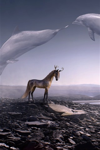 iPhone Wallpaper Creative picture, deer horse, horns, whale flight in sky