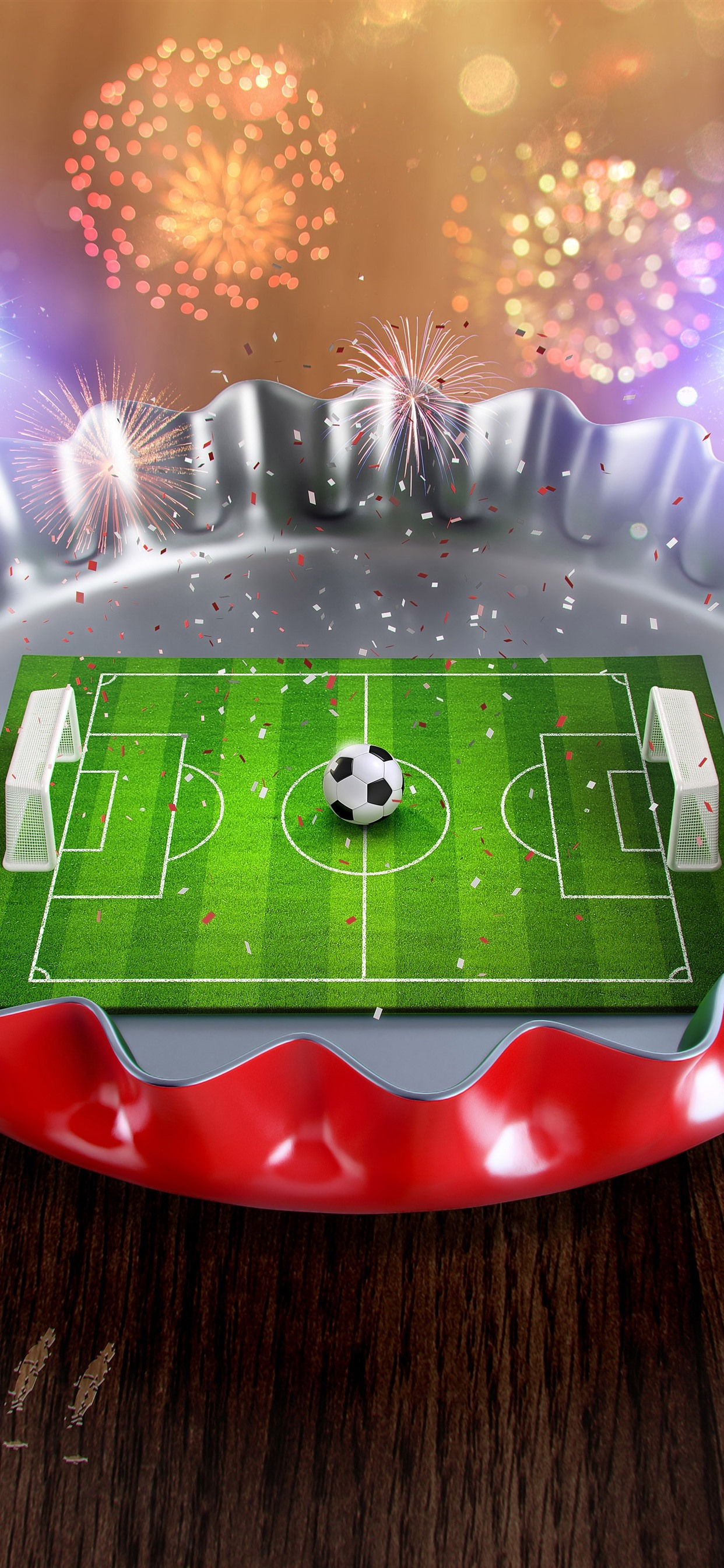 Creative Picture Mini Football Ground Cover Fireworks 1242x2688 Iphone 11 Pro Xs Max Wallpaper Background Picture Image