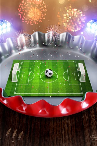 iPhone Wallpaper Creative picture, mini football ground, cover, fireworks
