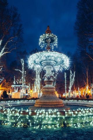 iPhone Wallpaper Croatia, Zagreb, fountain, beautiful holiday lights, shine, night