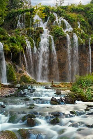iPhone Wallpaper Croatia, beautiful waterfall, Plitvice National Park