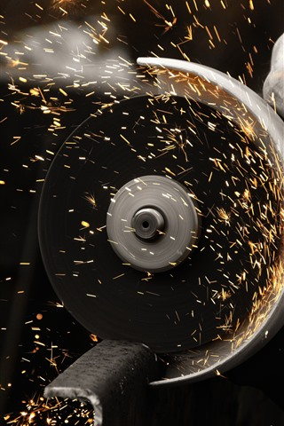 iPhone Wallpaper Cutting, sparks, metal