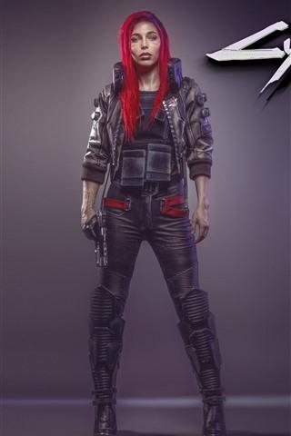 iPhone Wallpaper Cyberpunk 2077, red hair girl
