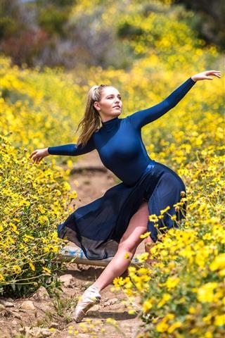 iPhone Wallpaper Dancing girl, blue skirt, yellow flowers, nature