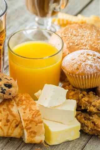 iPhone Wallpaper Delicious food, bread, cupcake, orange juice, cheese