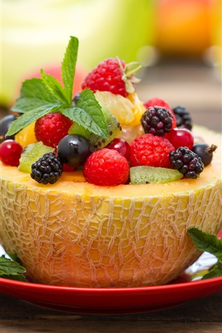 iPhone Wallpaper Delicious fruit dessert, melon, berries