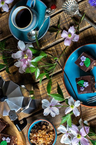 iPhone Wallpaper Dessert, chocolate cakes, coffee, coffee beans, flowers