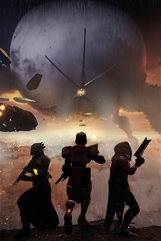 iPhone Wallpaper Destiny 2, rain, war