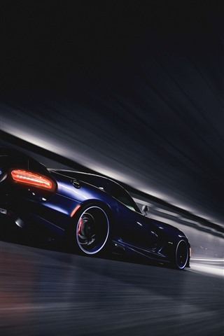 iPhone Wallpaper Dodge SRT Viper GTS blue supercar speed, tunnel