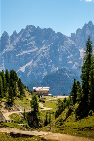 iPhone Wallpaper Dolomites, Italy, Alps, camp, trees