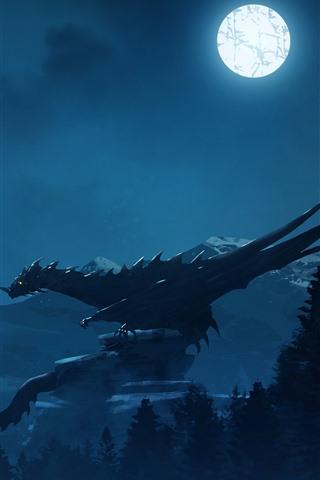 iPhone Wallpaper Dragon, night, moon, warrior, art picture
