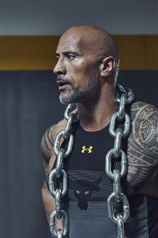 iPhone Wallpaper Dwayne Johnson, actor, iron chain