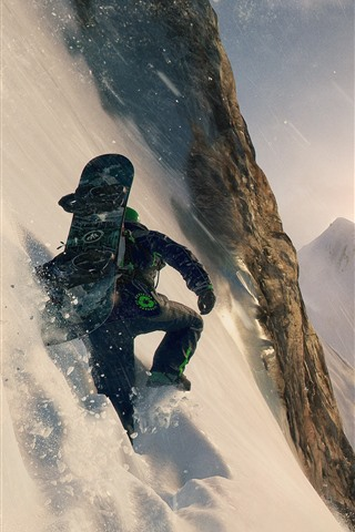 iPhone Wallpaper Extreme sport, cliff, snow, mountains, skydiving, skiing
