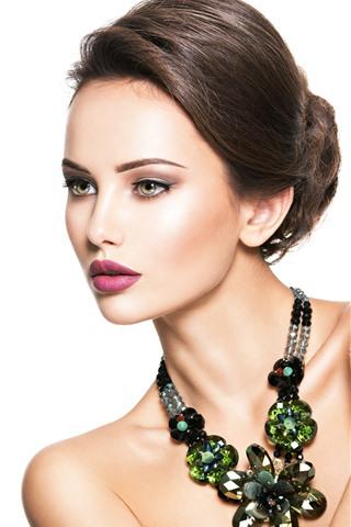 iPhone Wallpaper Fashion girl, beautiful model, jewelry, white background