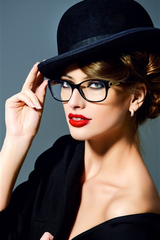 iPhone Wallpaper Fashion girl, hat, makeup, red lip, glasses, hands