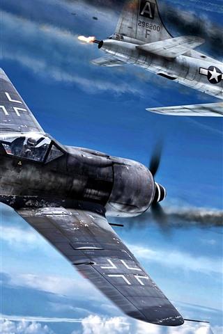 iPhone Wallpaper Fighter, war, sky, shoot, clouds, art picture