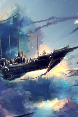 iPhone Wallpaper Flight ships, sky, clouds, art picture