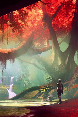 iPhone Wallpaper Forest, red leaves, waterfall, robot, art picture