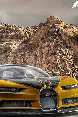 iPhone Wallpaper Forza Motorsport 7, Bugatti yellow supercar