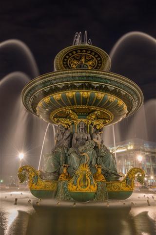 iPhone Wallpaper France, Paris, fountain, night