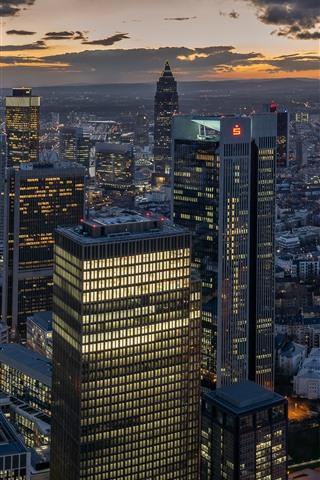 iPhone Wallpaper Frankfurt, city night, skyscrapers, lights, Germany