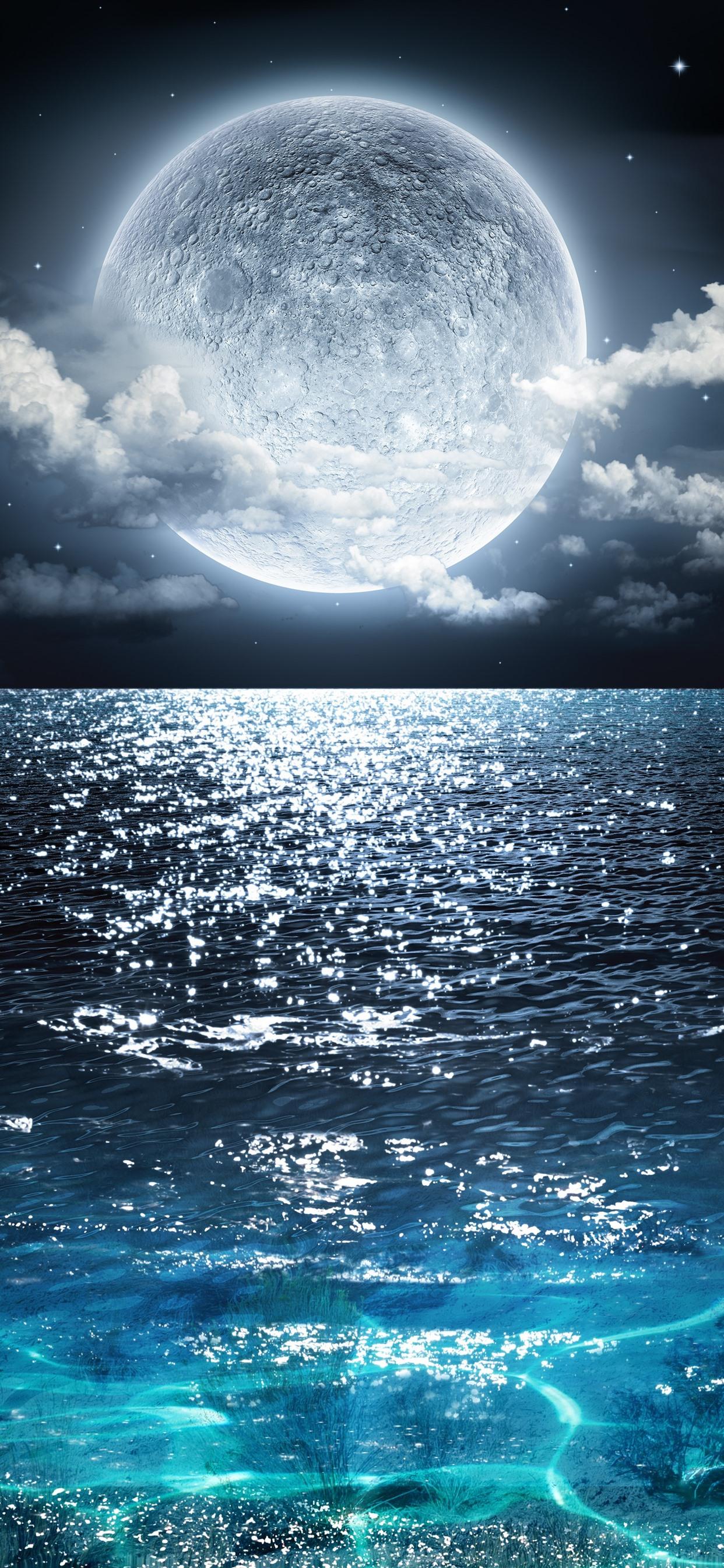 満月 青い海 雲 夜 美しい自然の風景 1242x2688 Iphone 11 Pro Xs