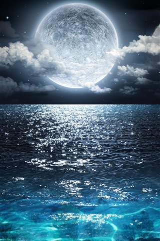 iPhone Wallpaper Full moon, blue sea, clouds, night, beautiful nature landscape
