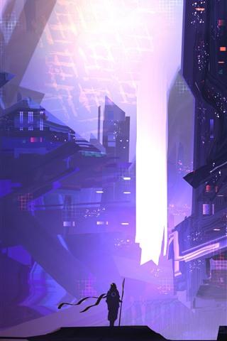 iPhone Wallpaper Future city, skyscrapers, person, creative picture