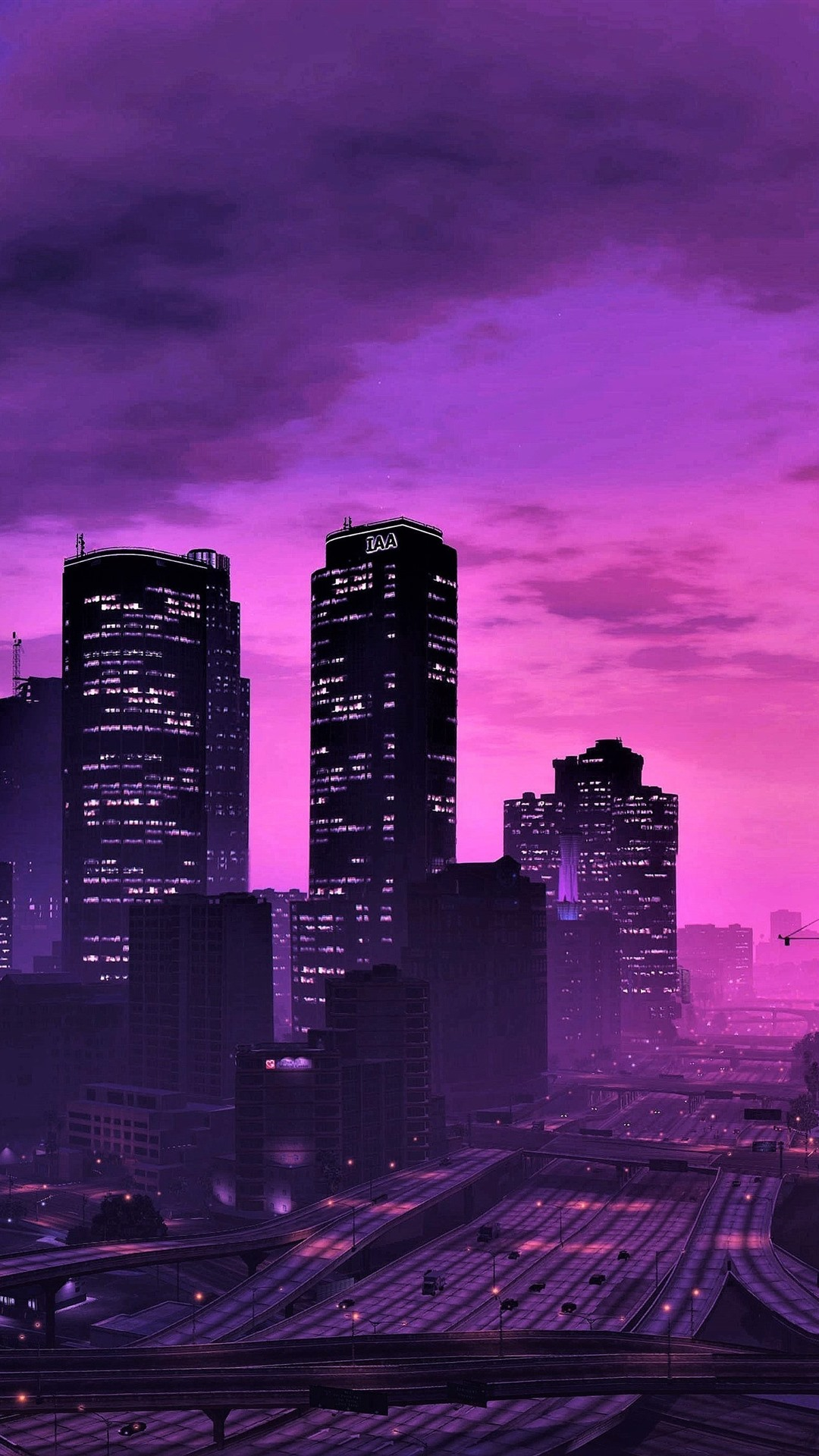 Wallpaper Gta 5 City At Night Purple Style Skyscrapers