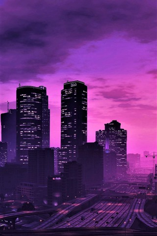 iPhone Wallpaper GTA 5, city at night, purple style, skyscrapers