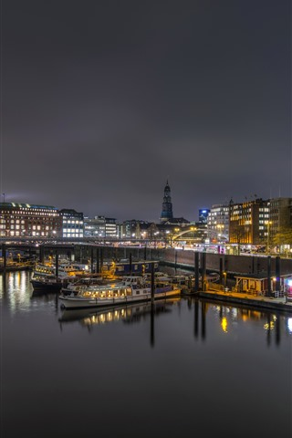iPhone Wallpaper Germany, Hamburg, pier, boats, lights, river, night