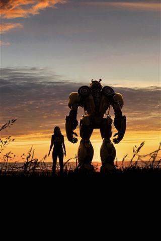 iPhone Hintergrundbilder Mädchen und Bumblebee, Transformatoren