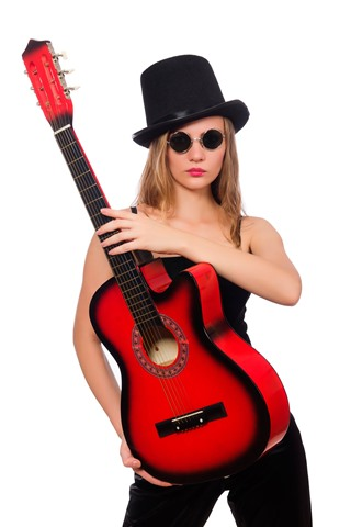 iPhone Wallpaper Girl and guitar, hat, glasses, white background