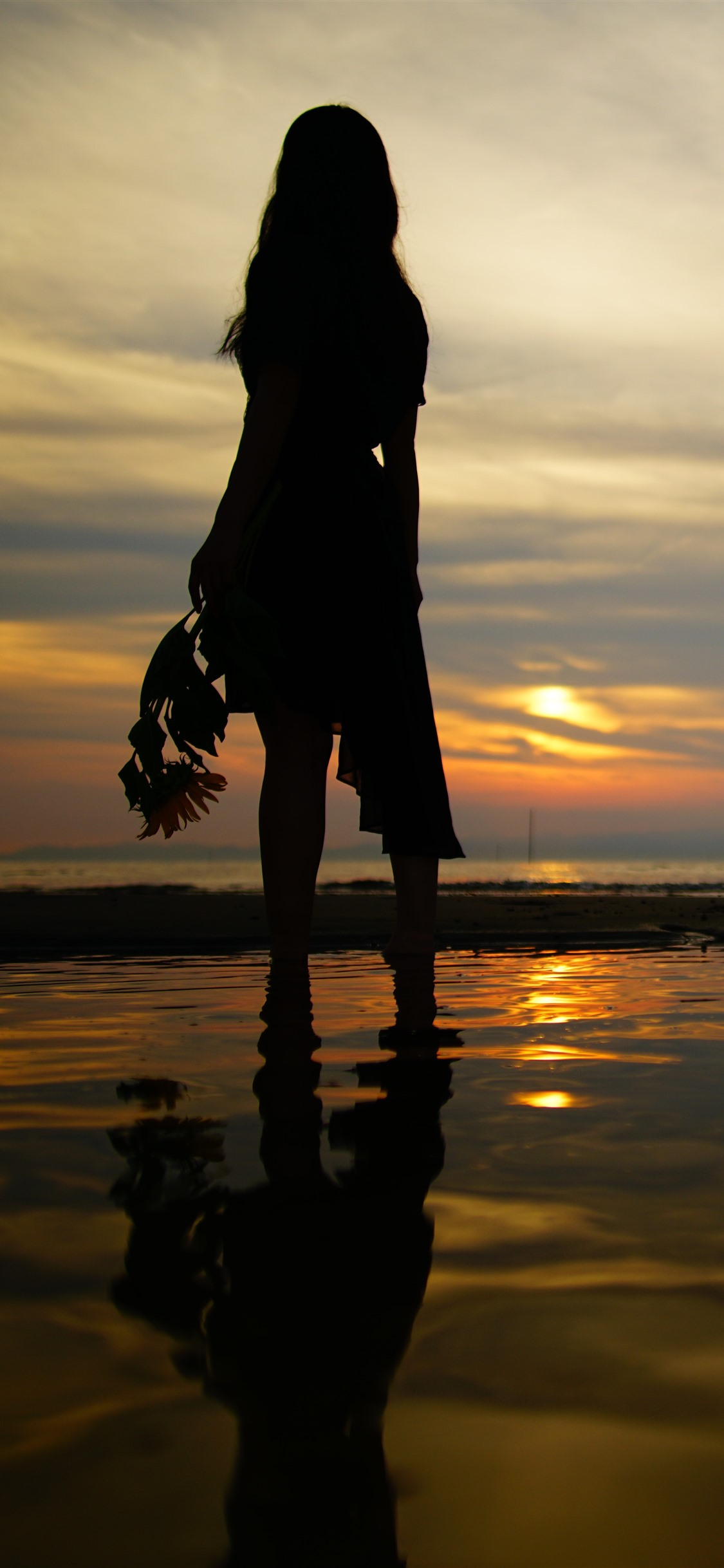Girl Back View Silhouette Beach Sea Sunset 1242x2688 Iphone 11 Pro Xs Max Wallpaper Background Picture Image