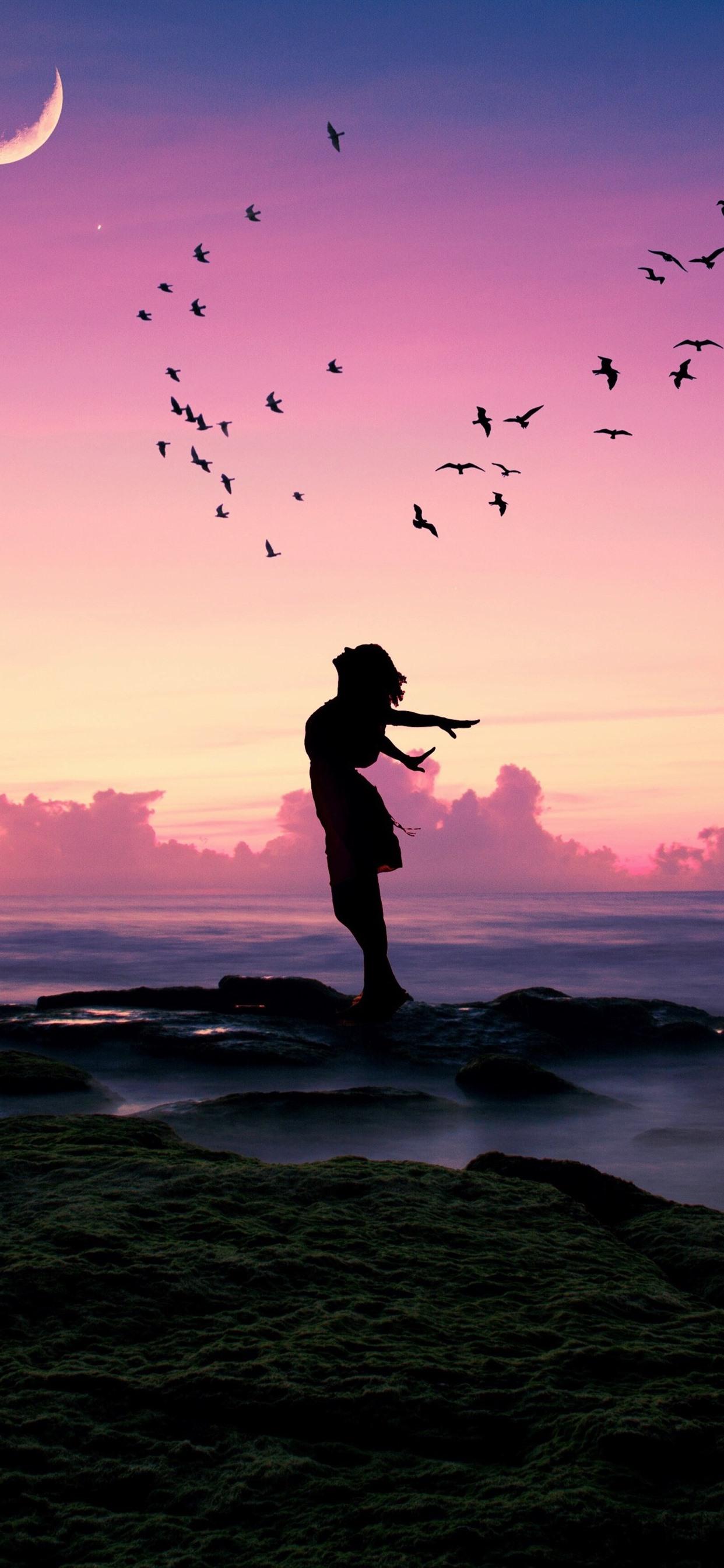 Wallpaper Girl Pose Birds Sea Moon Dusk Silhouette