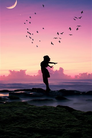 iPhone Wallpaper Girl, pose, birds, sea, moon, dusk, silhouette