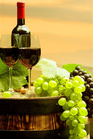 iPhone Wallpaper Green and red grapes, red wine, bottle, cups, barrel