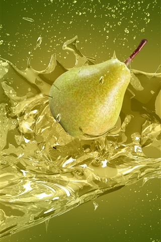 iPhone Wallpaper Green pears, water splash, creative design picture