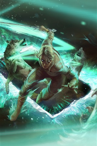 iPhone Wallpaper Gwent: The Witcher Card Game, girl and wolf