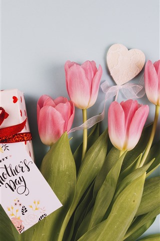 iPhone Wallpaper Happy Mothers Day, pink tulips, gift