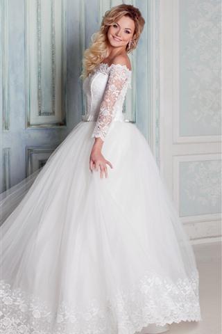 iPhone Wallpaper Happy bride, wedding, white skirt