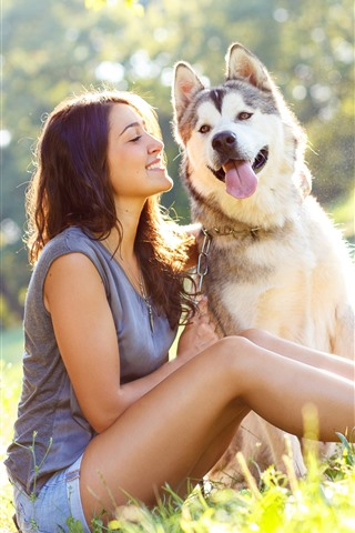 iPhone Wallpaper Happy girl and husky dog, grass, summer