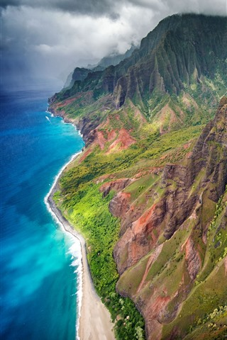 iPhone Wallpaper Hawaii, Kauai island, mountains, sea, USA