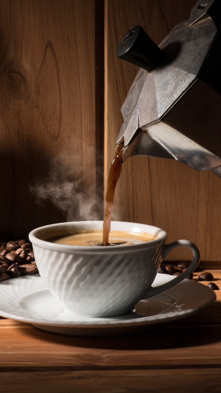 Wallpaper Hot Coffee, Cup, Kettle, Coffee Beans 5120X2880 -3287